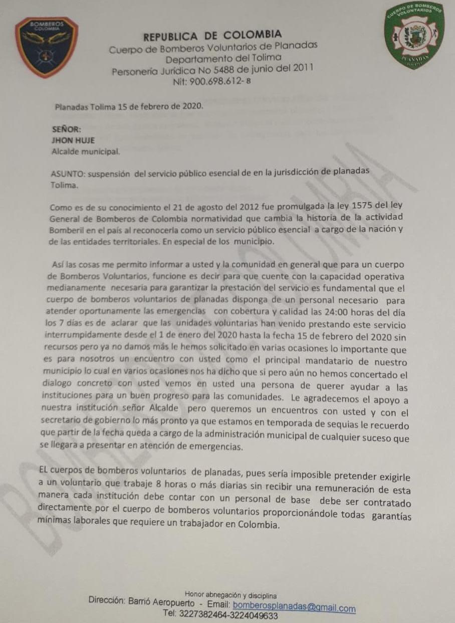 Bomberos Voluntarios de Planadas renunciaron por falta de implementos para atender emergencias 2
