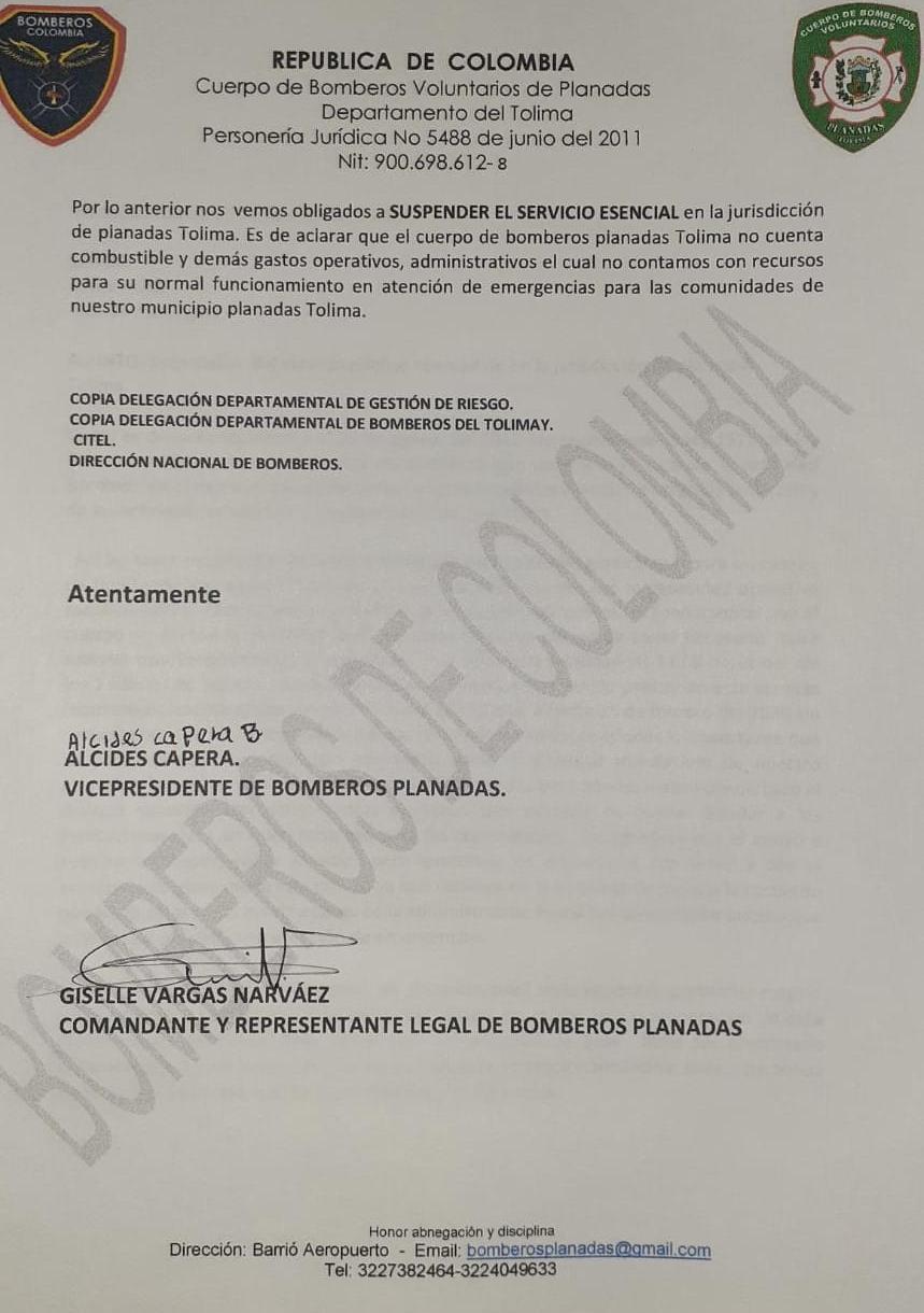 Bomberos Voluntarios de Planadas renunciaron por falta de implementos para atender emergencias 3