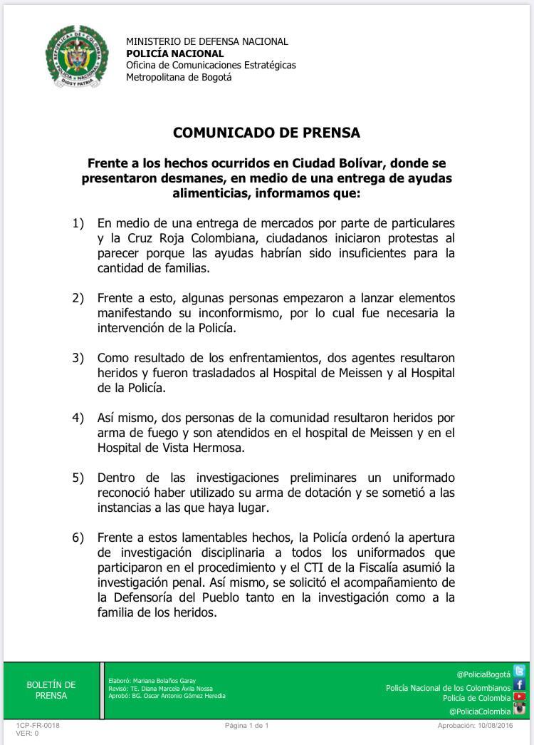 Comunidad con hambre arremetieron en contra de la Policía en Bogotá 2