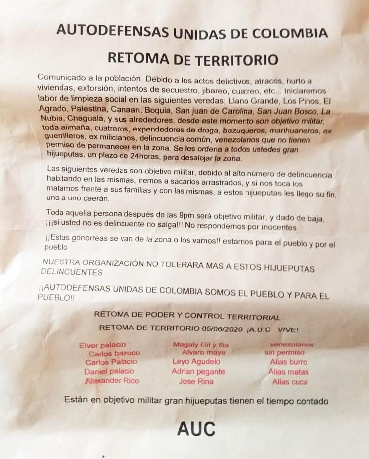 Aparece panfleto en Salento, amenazan 15 pobladores 4