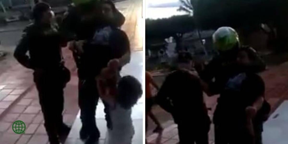 Policía inmoviliza a padre que paseaba con su hijo 2