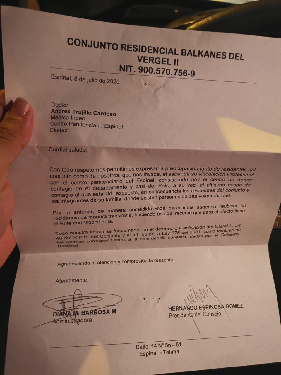 La carta que le pide a un médico irse de su casa en el Espinal 2