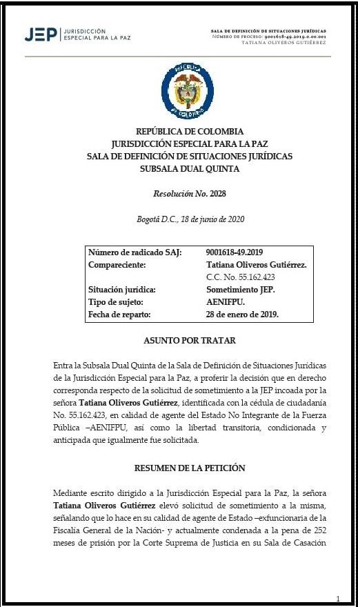 Exfiscal que manipuló caso de falsos positivos en Chaparral, fue rechazada por la JEP 2