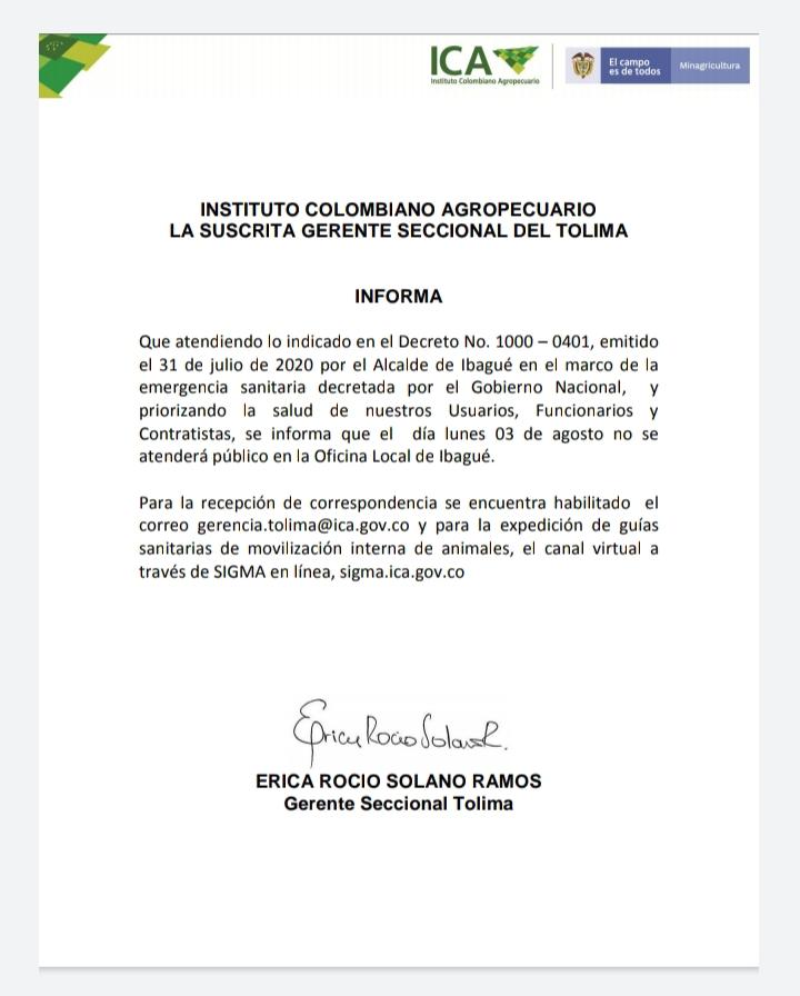 Trámites del ICA Tolima, se harán por correo electrónico este lunes 4