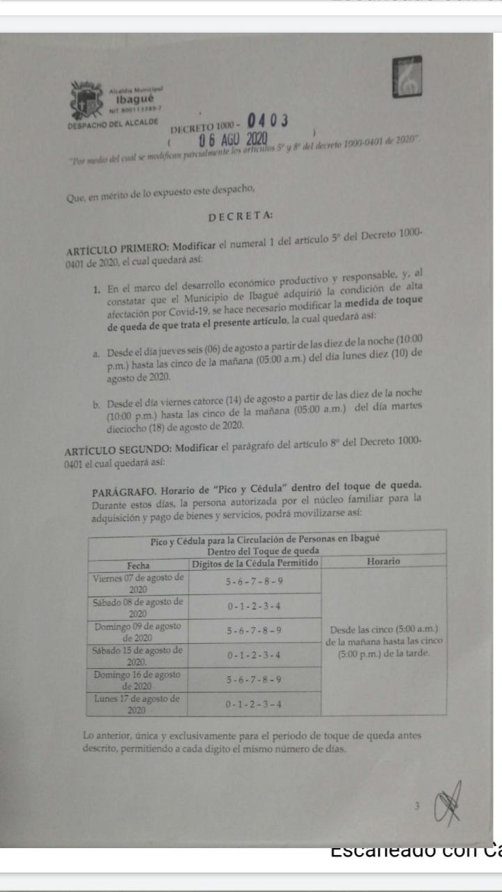 Aprobada ampliación del toque de queda en Ibagué 5