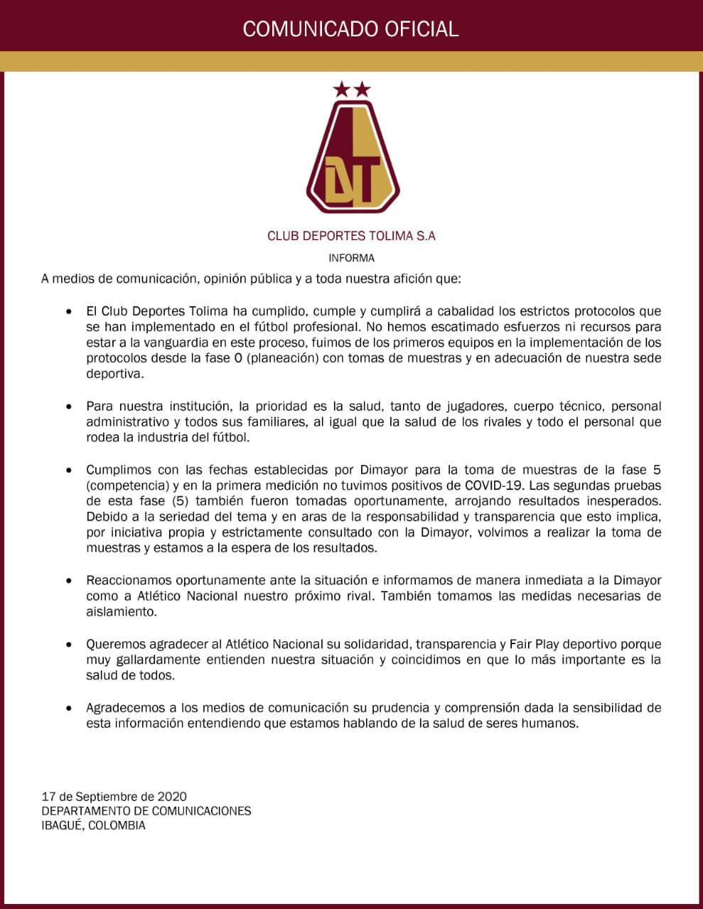 Deportes Tolima tendría 20 nuevos casos de covid-19 4