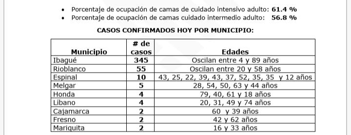 Tolima, el 4° departamento con más contagios de Covid en 24 horas en el país 17