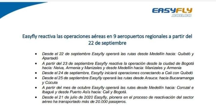 Hasta octubre EasyFly reactiva operaciones aéreas en Ibagué 3