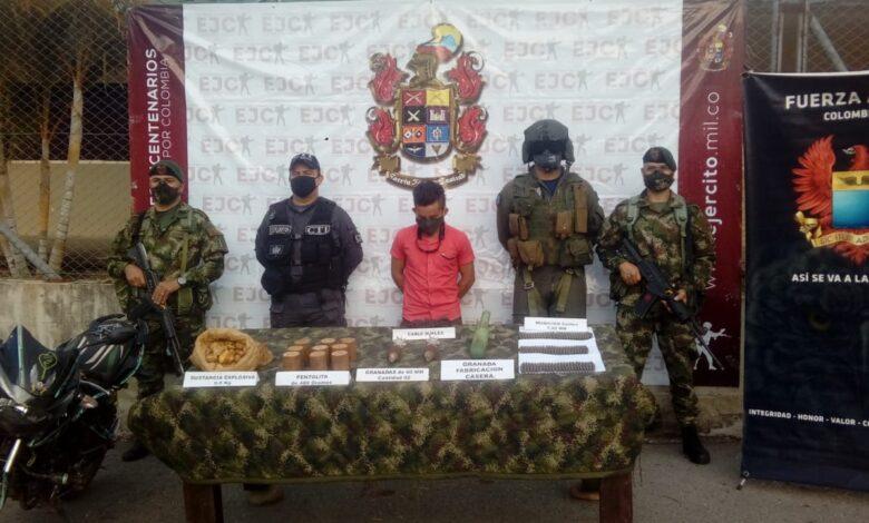 Asegurado presunto explosivita de las disidencias  de las FARC que operan en el sur de Tolima 1