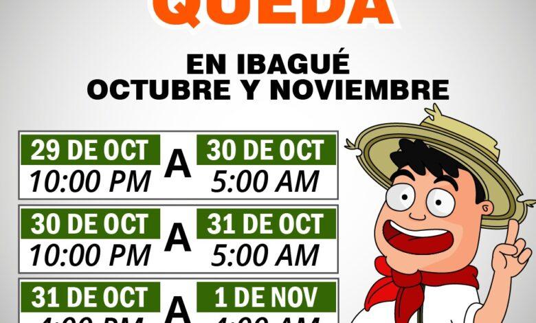Tenga en cuenta los horarios del toque de queda y el pico y cédula en Ibagué 1