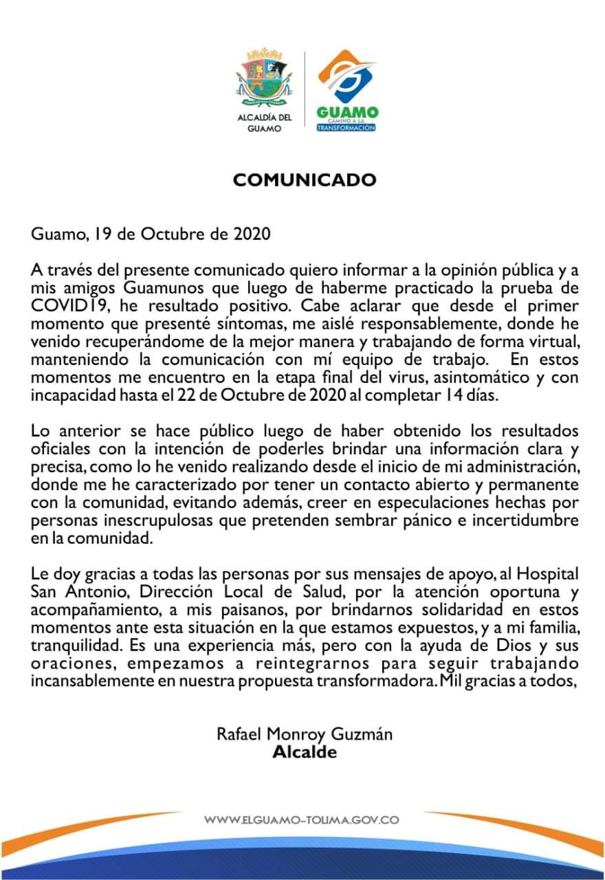Rafael Monroy alcalde del Guamo, dio positivo para Covid-19 4