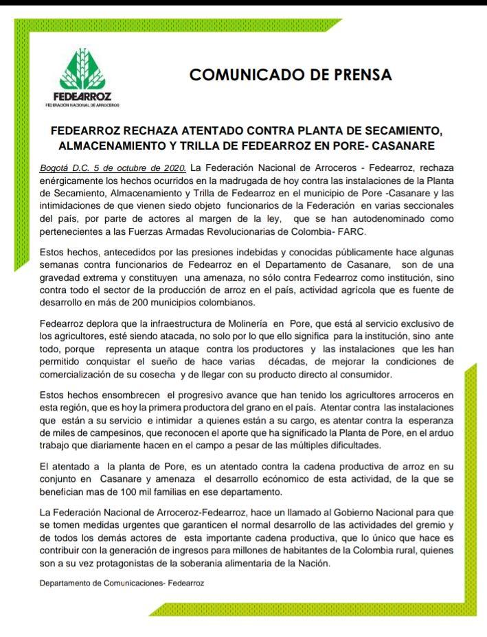 Ataque a Molino de Fedearroz en Casanare, sería retaliación de disidencias de las Farc 4