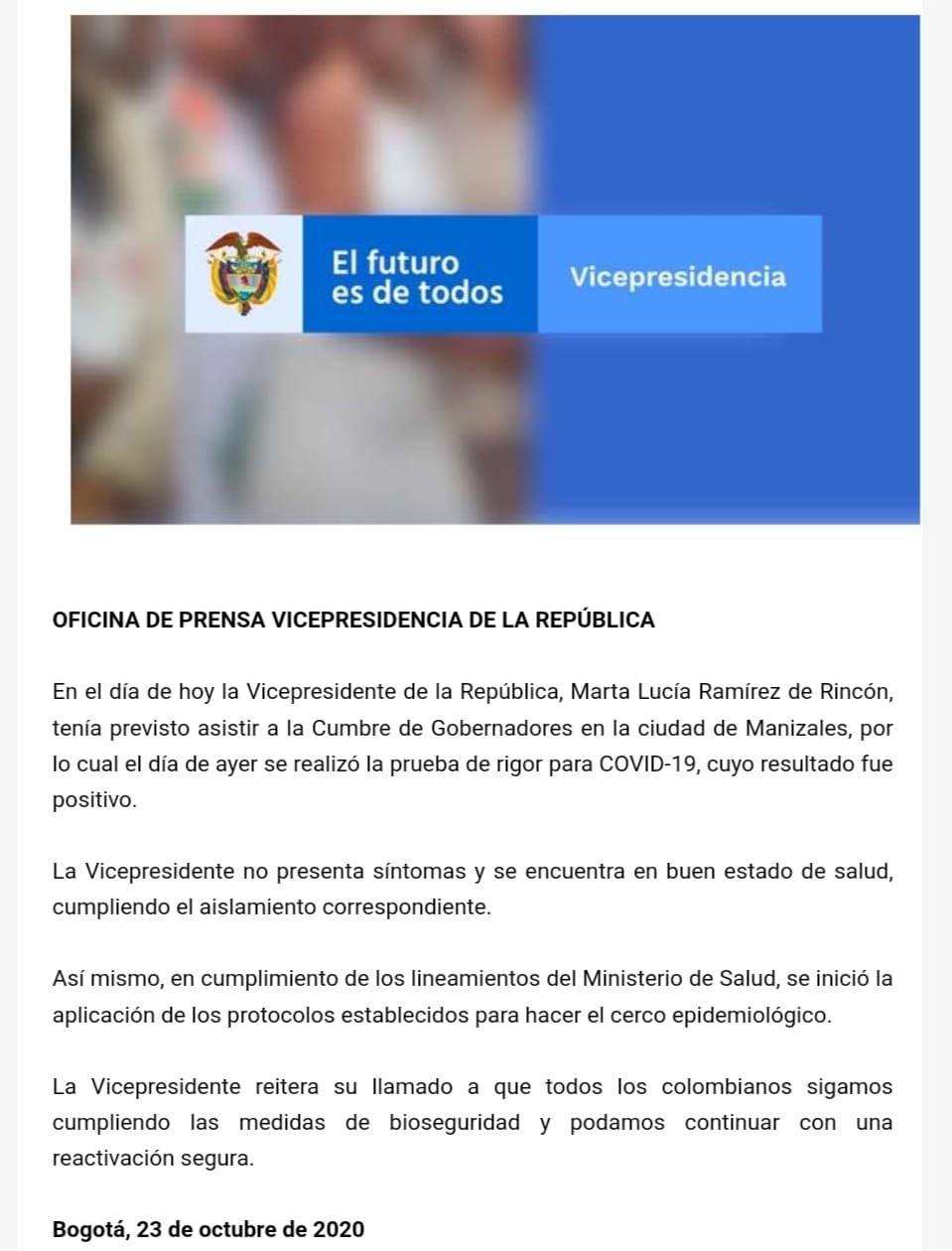 Vicepresidenta de Colombia dio positivo para covid-19 4