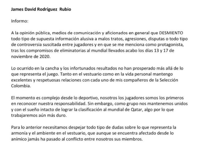James Rodríguez estalló y desmintió malas informaciones 1