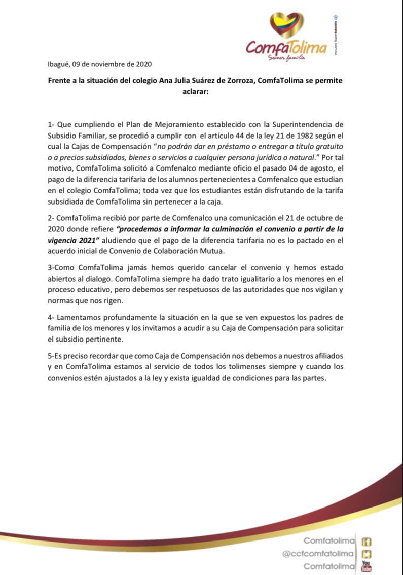 Incertidumbre sobre el futuro escolar de más de 400 estudiantes por rifi-rafe entre Comfenalco y Comfatolima 4