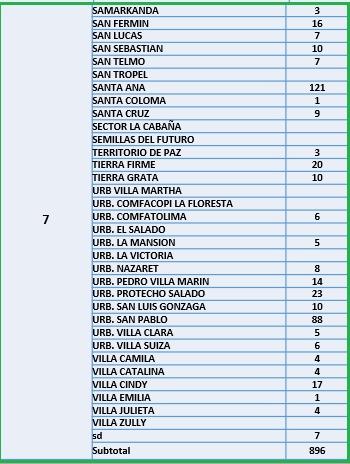Conozca el número de casos de Covid-19 por barrios de Ibagué 13