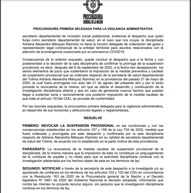 Secretaria de Salud del Tolima podría volver a su cargo luego de ser suspendida por la Procuraduría 4