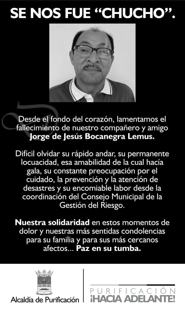 Fallece coordinador de Gestión del Riesgo de Purificación 4