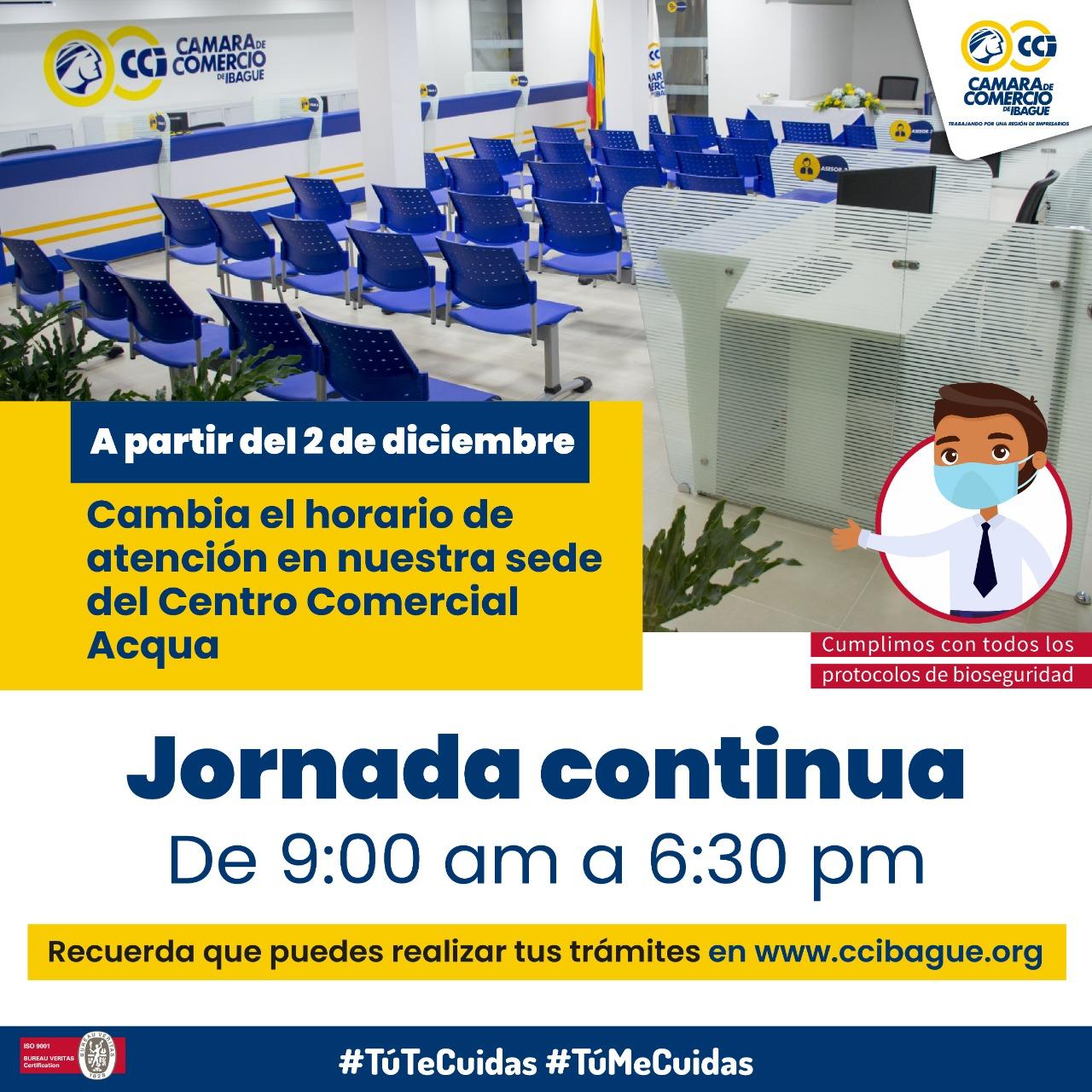 La Cámara de Comercio de Ibagué cambiará de horario de atención en su sede alterna 4