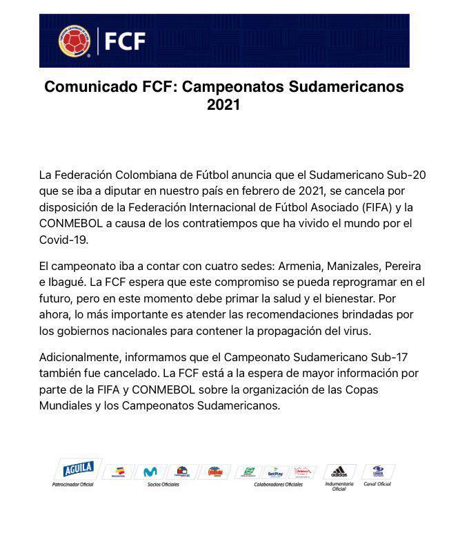Aplazado el campeonato suramericano de fútbol sub 20 7