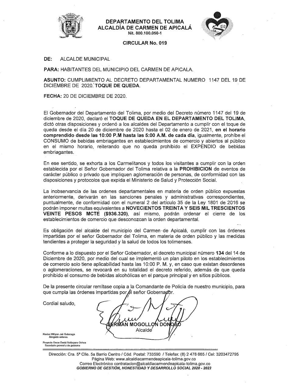 Estos municipios ya adoptaron medidas para fin de año en el Tolima 14