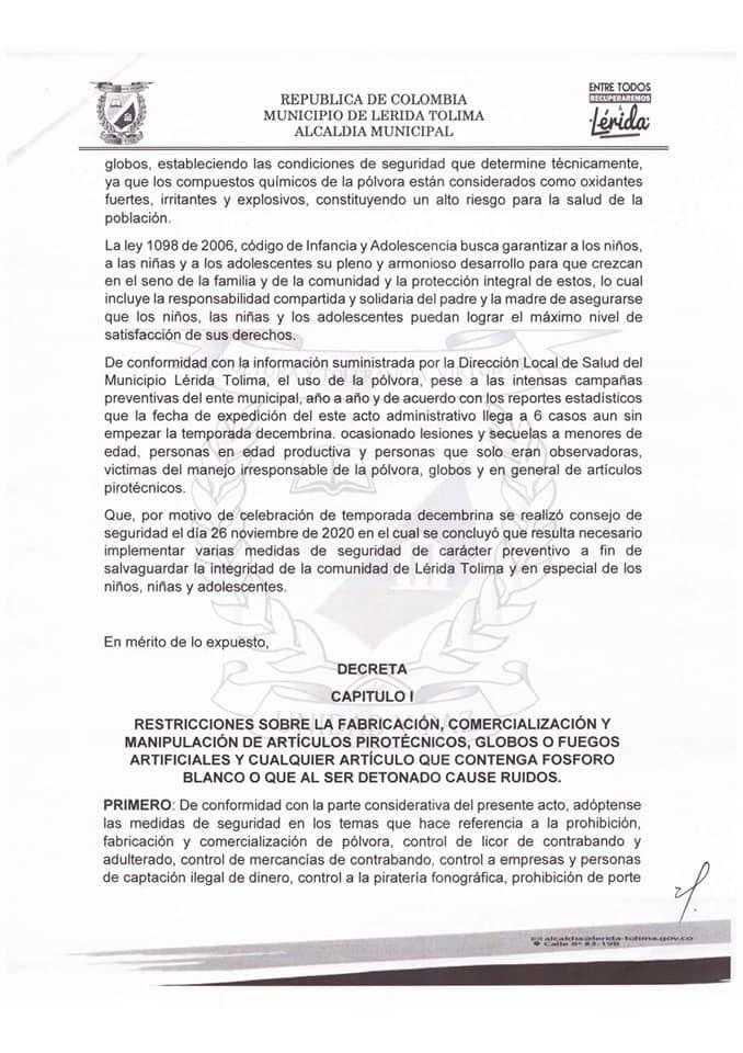 Lerida, primer municipio en prohibir muñecos de año viejo y pólvora en el Tolima 4