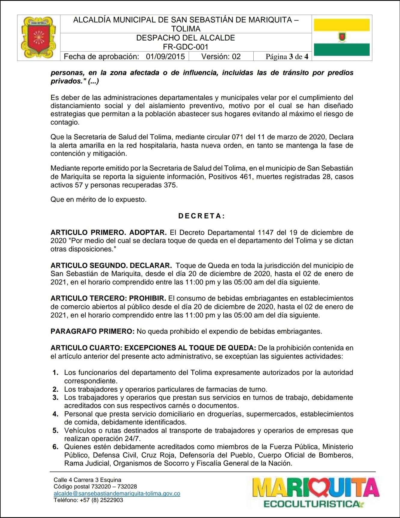 Estos municipios ya adoptaron medidas para fin de año en el Tolima 11