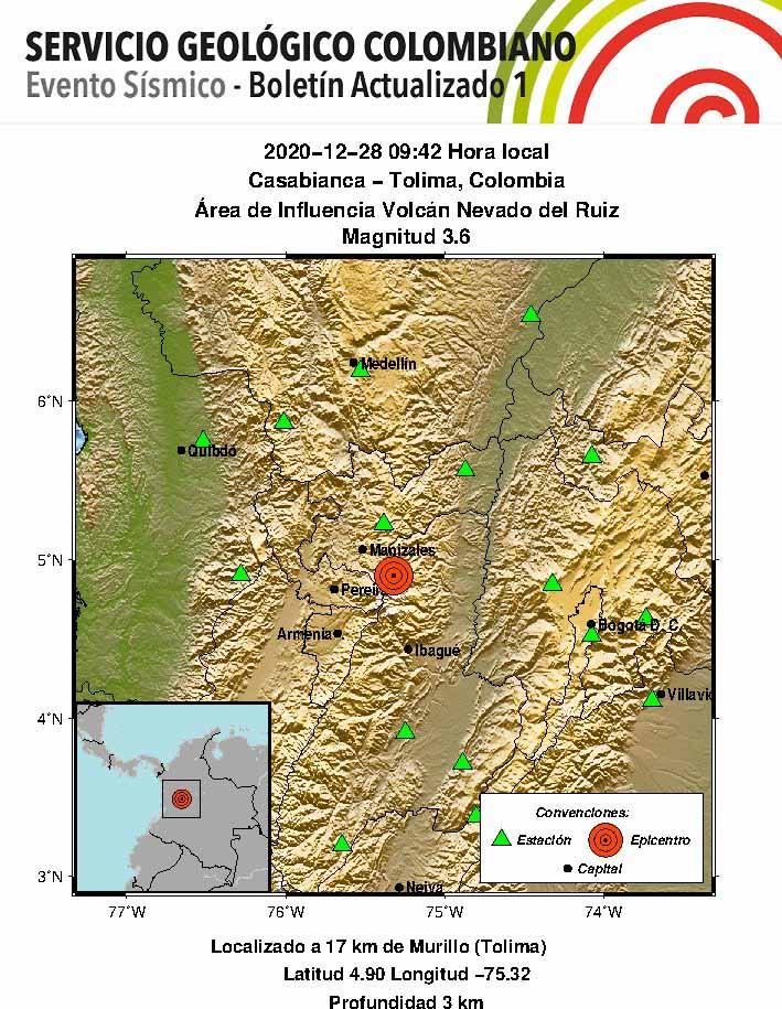 Tolima y Caldas sintieron sismo del Nevado del Ruiz la mañana de este lunes 6
