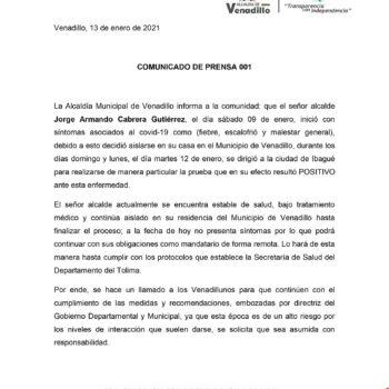 El Tolima reporta al décimo alcalde contagiado de Covid-19 3