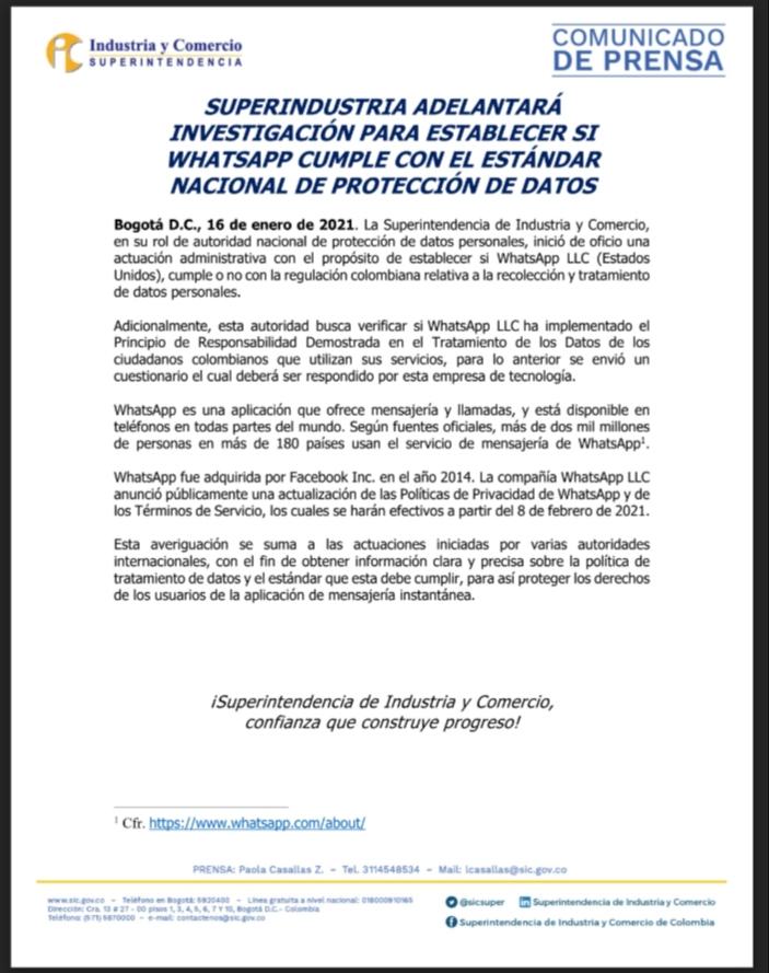 ¿WhatsApp cumple con la protección de datos en Colombia? SIC pone la Lupa 4