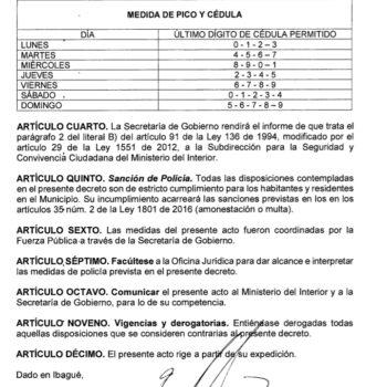 Puente de Reyes con toque de queda en Ibagué fue autorizado 3