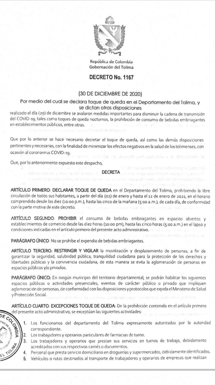 ¡Recuerde! A partir de hoy hasta el 12 de enero habrá toque de queda en el Tolima 4