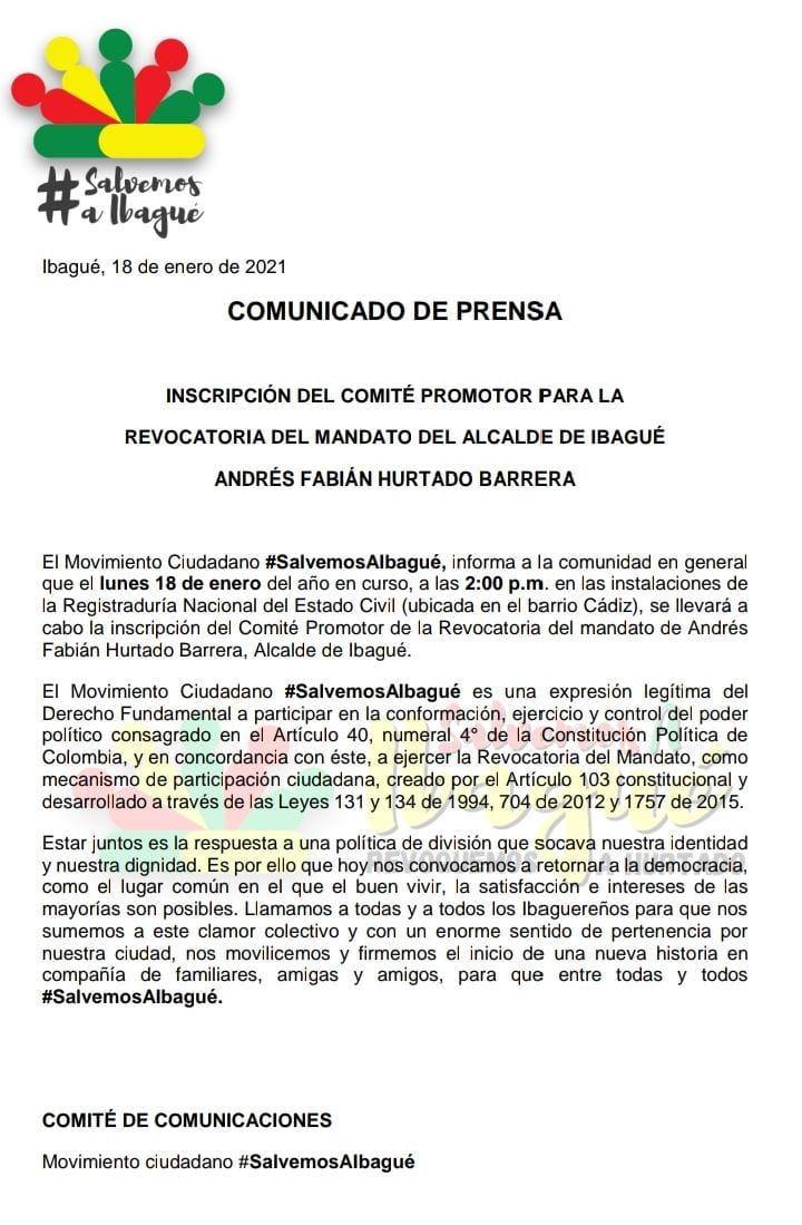 Esta tarde se oficializará la inscripción del comité que busca promover la revocatoria del alcalde Andrés Hurtado 4