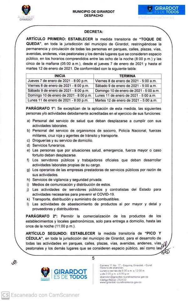 Cundinamarca decreta toque de queda, ley seca y pico y cédula 2