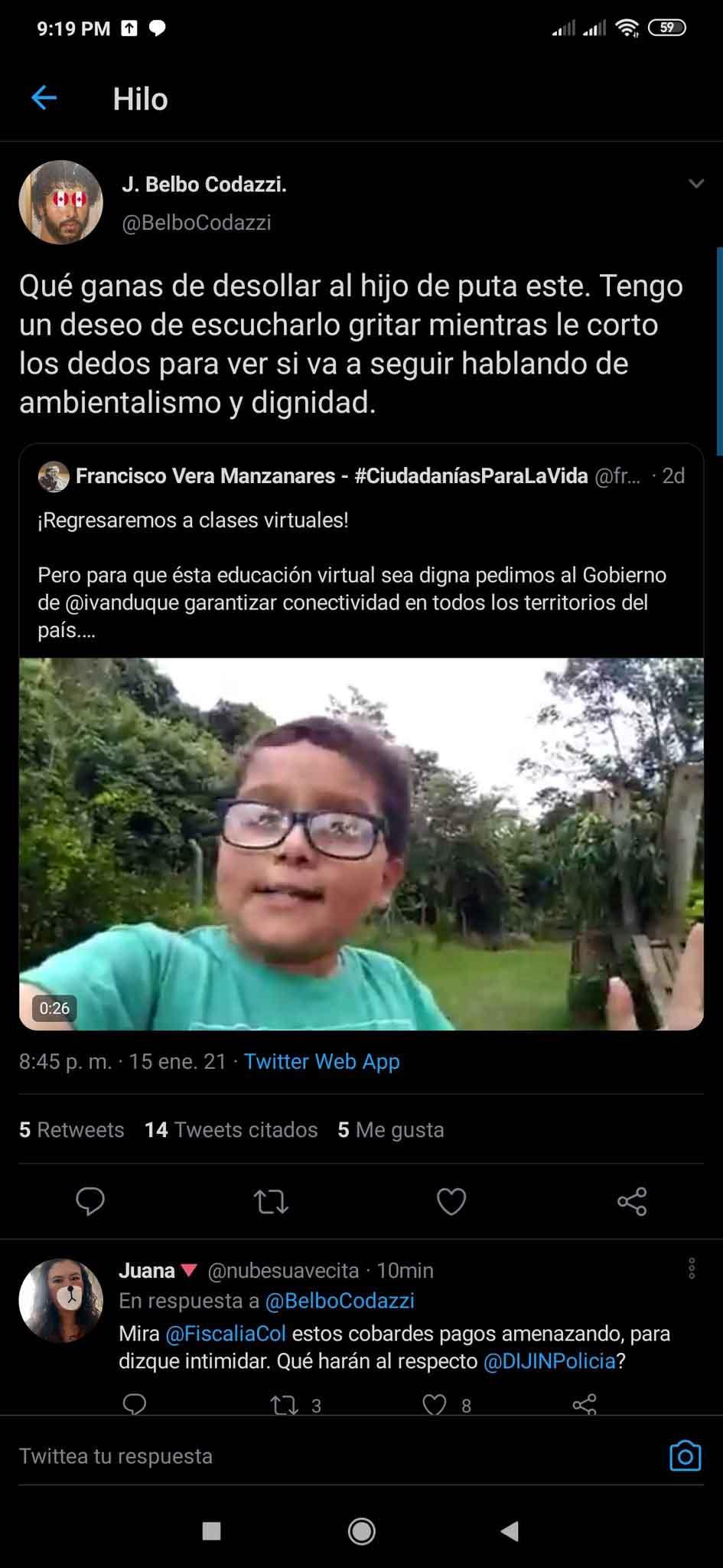 Desadaptado amenaza a niño ambientalista colombiano 4