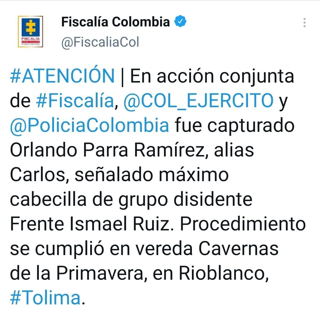 Cae en el sur del Tolima cabecilla de grupo disidente Ismael Ruiz 4