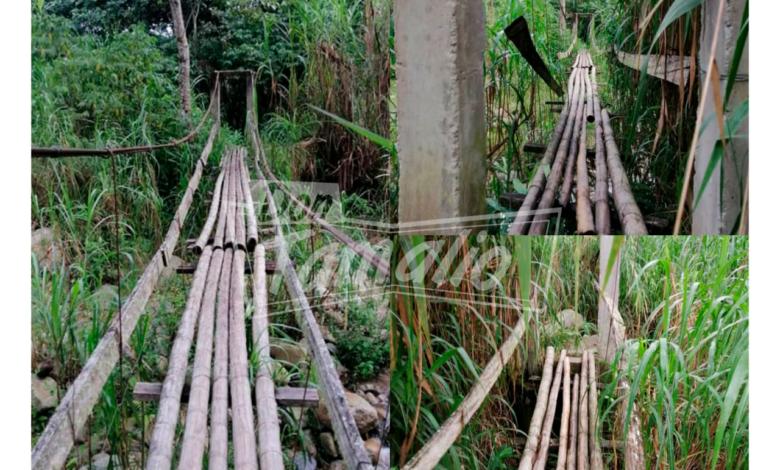 Comunidad pone en riesgo sus vidas por mal estado de un puente 11