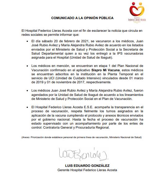 ¿Quiénes son los hijos de la funcionaria del Federico Lleras que fueron vacunados en el Tolima? 7