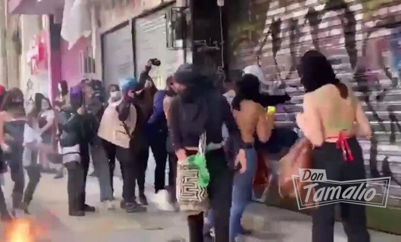 Vandalismo en Iglesias de Bogotá e Ibagué en marchas feministas del 8 de marzo 1