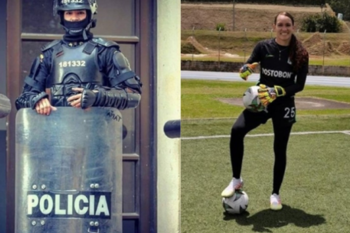 Katherine Tapia de agente del Esmad a arquera del fútbol profesional femeninino. 9
