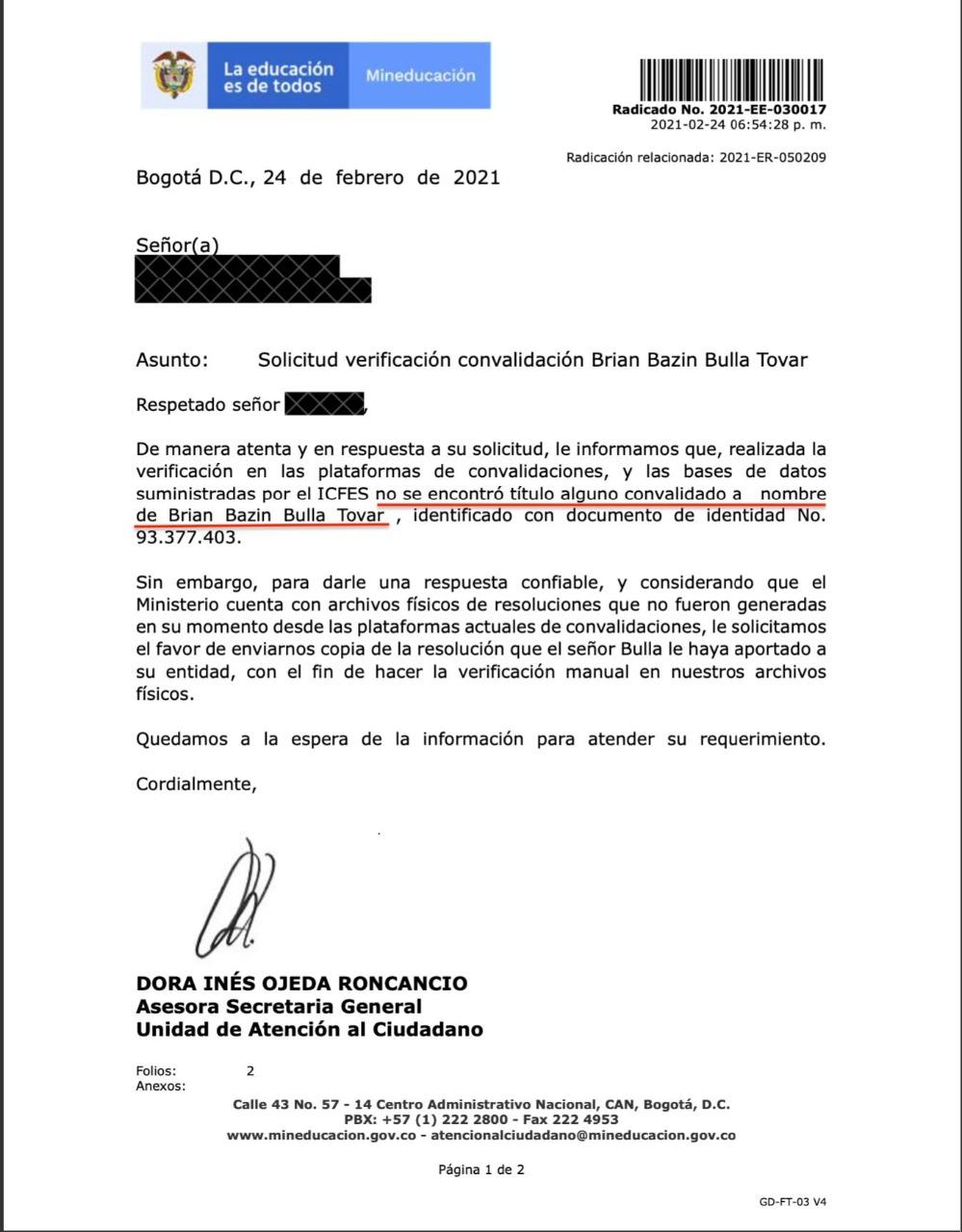 Presidente de la CCI habría presentado documento no convalidado de estudios en el exterior 7