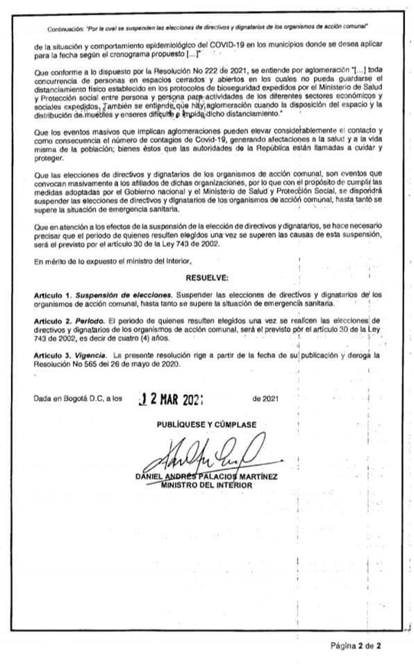 Suspenden elección de las Juntas de Acción Comunal en Ibagué. 6
