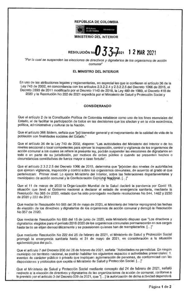 Suspenden elección de las Juntas de Acción Comunal en Ibagué. 5