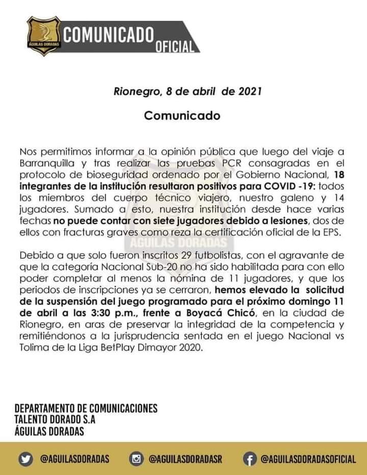 Alerta en el fútbol colombiano por casos de Covid en Águilas Doradas. 7