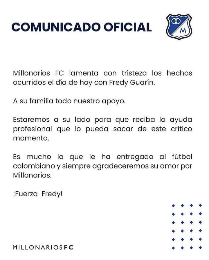 Millos ofrece apoyo profesional a Guarín y su familia 4