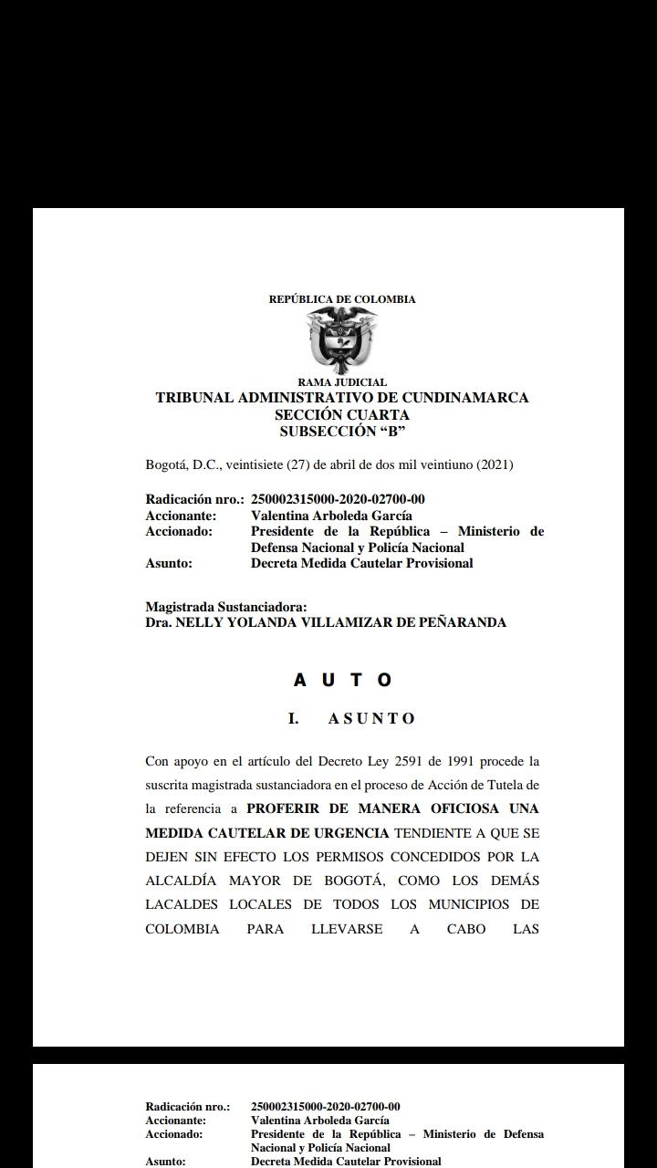 Tribunal Administrativo de Cundinamarca, dice NO al paro, pero los protestantes no darán marcha atras 4