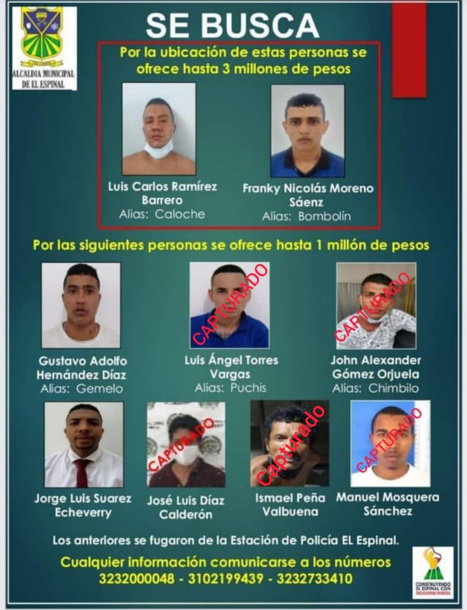 A la cárcel 6 de los 10 fugados de la Estación de Policía en el Espinal 4