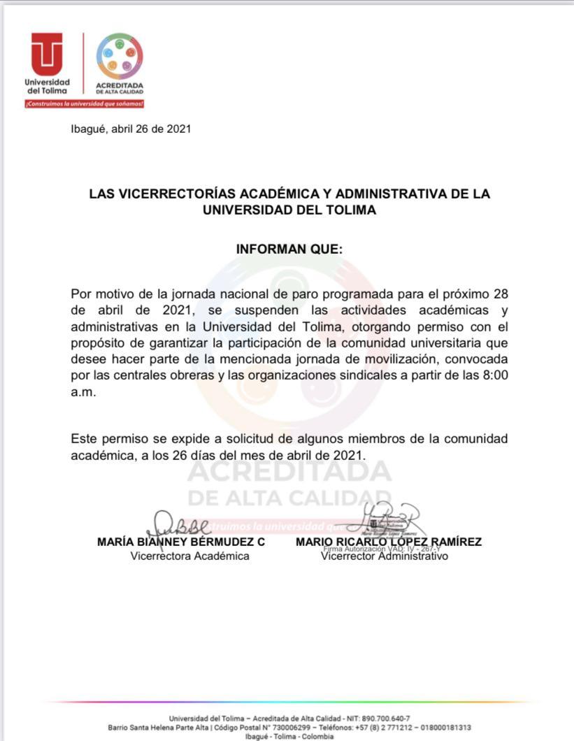 Así reaccionaron tres de las Universidades del Tolima frente al Paro del 28 de abril 9