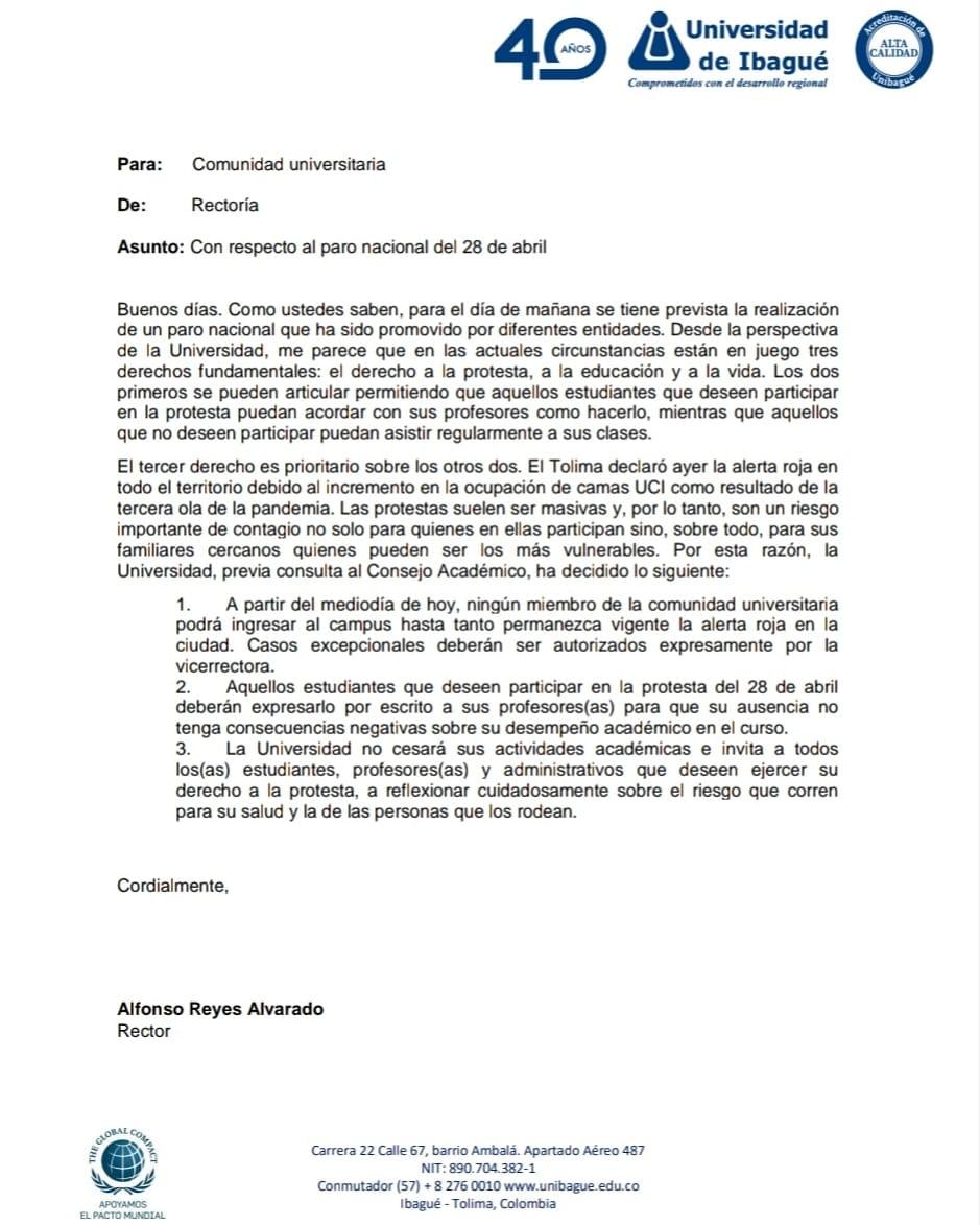Así reaccionaron tres de las Universidades del Tolima frente al Paro del 28 de abril 7