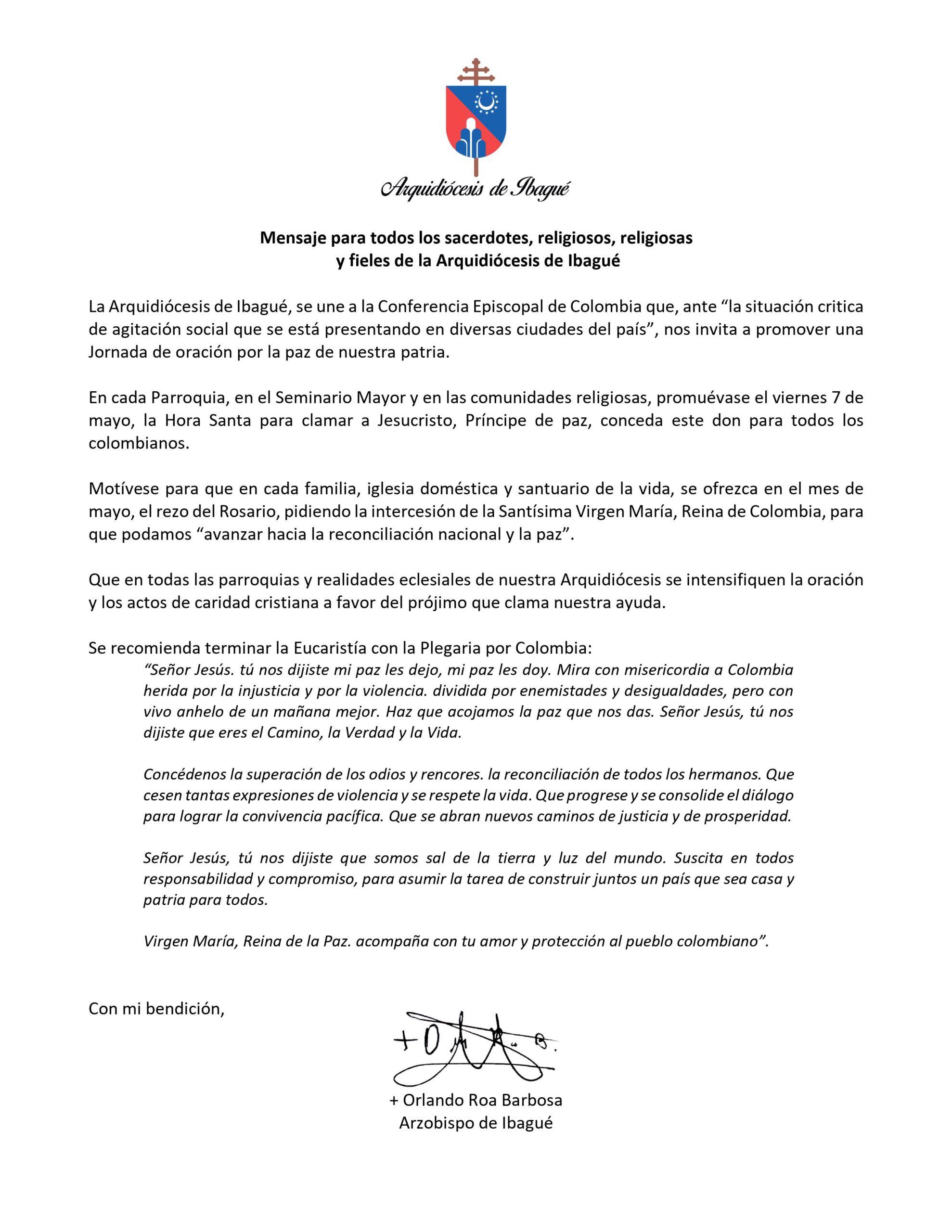 Iglesia Católica en Ibagué se sumó a la petición de servir como mediadora entre Gobierno y Comité del Paro 4